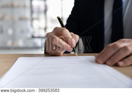 Close Up Businessman Signing Contract, Holding Pen, Filling Form