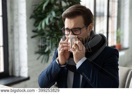Close Up Sick Employee Wearing Warm Scarf Blowing Running Nose