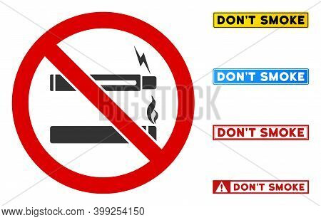 No Smoking No Vaping Sign With Titles In Rectangular Frames. Illustration Style Is A Flat Iconic Sym
