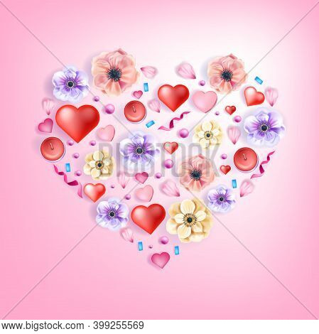 Love Heart Vector Greeting Card Floral Valentine's Day Poster With Anemones Flowers, Confetti, Petal