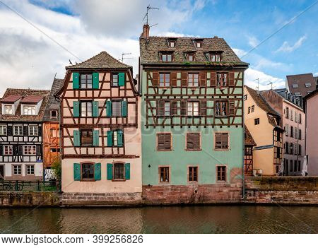 Half-timbered Houses Facing River Ill, In Petite France District, Strasbourg, France.
