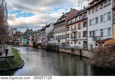 Half Timbered Houses In Little France, Strasbourg, France. Alsatian Scenic Landscape In The Afternoo