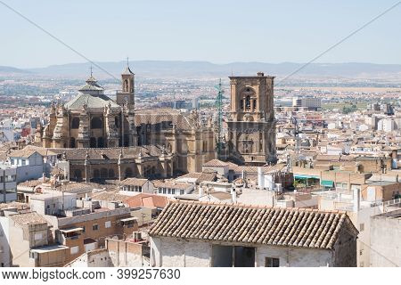 Granada,spain-august 12, 2017:view From Abowe Of The Granada Cathedral Durind A Sunny Day