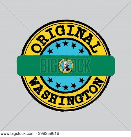 Vector Stamp Of Original Logo And Tying In The Middle With Washington Flag, The States Of America. G