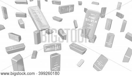 Silver Bars Of The Highest Standard. A Lot Of Ingots Of 999.9 Fine Silver On White Surface. 3d Illus