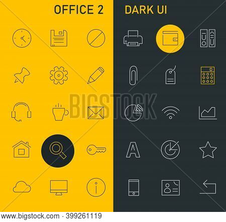 Inline Office Icons Collection, Trendy Line Icons Collection