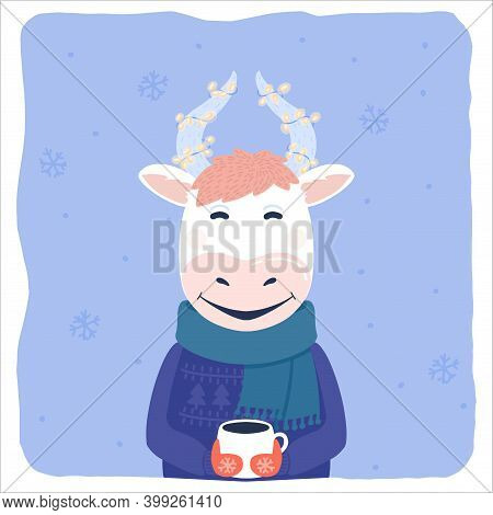 Funny Bull Vector Character With A Cup Of Coffee And Holiday Lights On Horns. Cartoon Cow, Ox In War