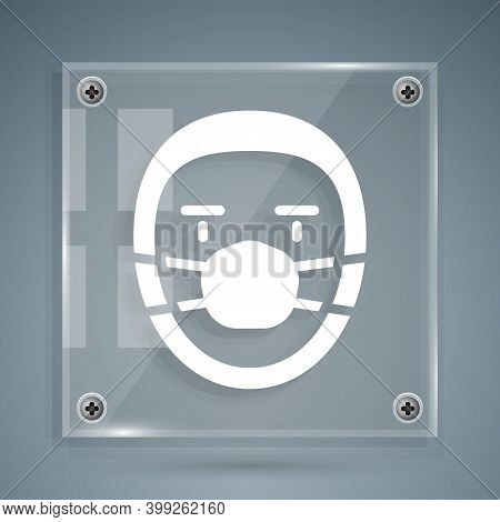 White Doctor Pathologist Icon Isolated On Grey Background. Square Glass Panels. Vector