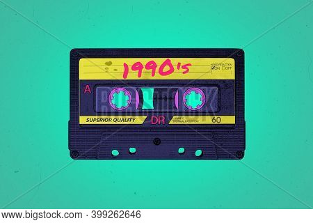 A Retro 1990's Themed Vibrant Neon Synthwave Style Audio Cassette Illustration Background With Copy