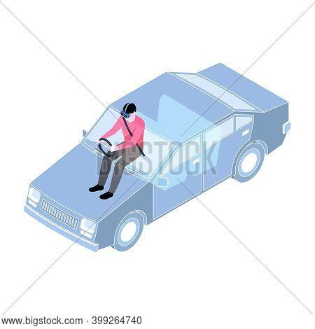 Man In Virtual Reality Glasses Driving Car Simulator 3d Isometric Vector Illustration
