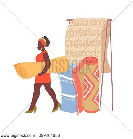 Woman In Carpet Interior Shop Flat Vector Illustration