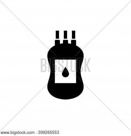 Plastic Blood Bag, Donate Transfusion. Flat Vector Icon Illustration. Simple Black Symbol On White B