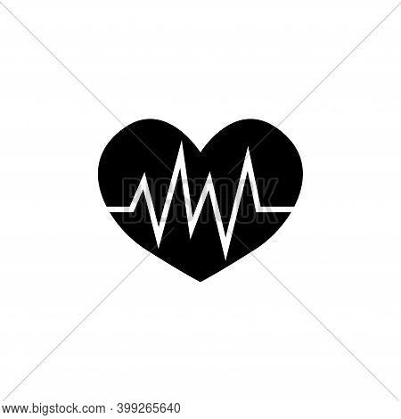 Heart Pulse, Heartbeat Ecg Cardiogram. Flat Vector Icon Illustration. Simple Black Symbol On White B