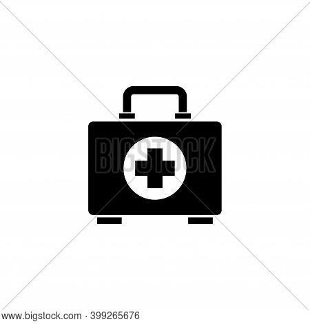 First Aid Kit, Medical Emergency Box. Flat Vector Icon Illustration. Simple Black Symbol On White Ba