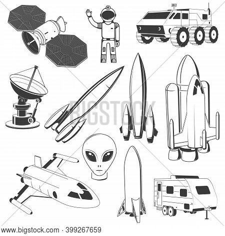 Set Of Space Icon. Vector Illustration Concept For Shirt, Print, Stamp. Spaceman, Astronaut, Satelli