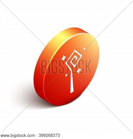 Isometric Magic Staff Icon Isolated On White Background. Magic Wand, Scepter, Stick, Rod. Orange Cir