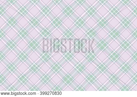 Light Green White Pink Faded Vintage Checkered Background. Space For Graphic Design. Checkered Textu