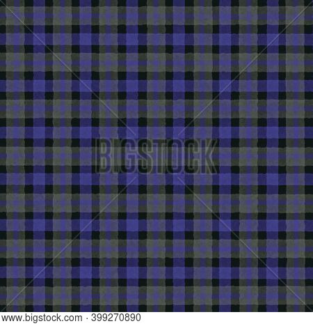 Purple Black Gray Blue Vintage Checkered Background With Blur, Gradient And Grunge Texture. Classic