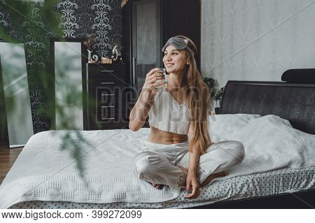 Self Care, Mourning Routine, Start Day. Self Care Ideas For Woman. Young Woman Lies On The Bed And D