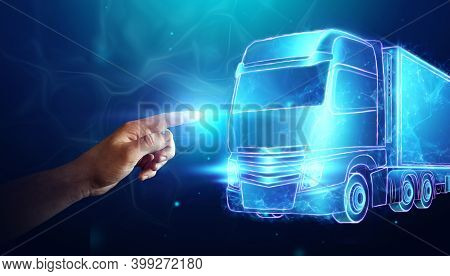 Background For The Transport Industry, The Image Of Containers And A Cargo Truck. Logistics Concept,