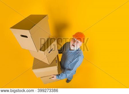 Delivery Concept. Man With Cardboard Box. Man With Boxes. Delivery Man With Boxes. Delivery Service.