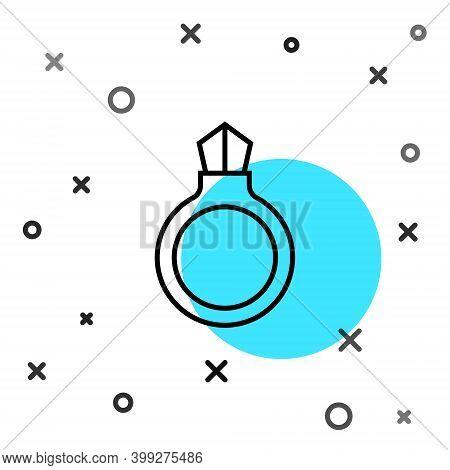 Black Line Fantasy Magic Stone Ring With Gem Icon Isolated On White Background. Random Dynamic Shape