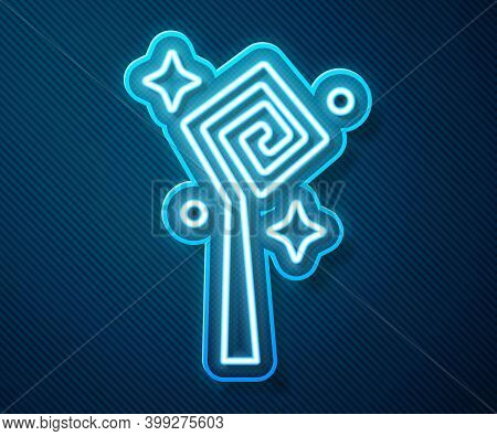 Glowing Neon Line Magic Staff Icon Isolated On Blue Background. Magic Wand, Scepter, Stick, Rod. Vec