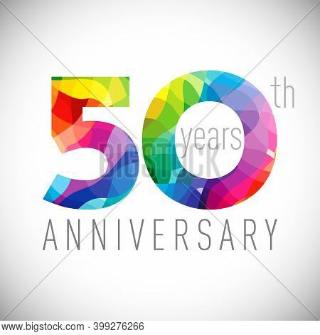 50th Anniversary Numbers. 50 Years Old Logotype. Bright Congrats. Isolated Abstract Graphic Design T