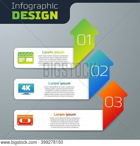 Set Movie Clapper, Screen Tv With 4k And Vhs Video Cassette Tape. Business Infographic Template. Vec
