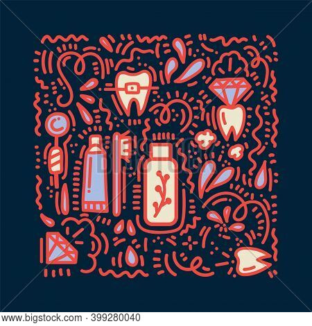 Background For Brushing Teeth In Doodle Style. Cartoon Pattern Drawn In The Vector Dental Floss, Tee