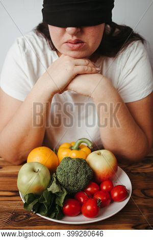 Woman With Closed Eyes And Plate Of Healthy Food. Intuitive Nutrition, Mindfulness, Conscious Eating