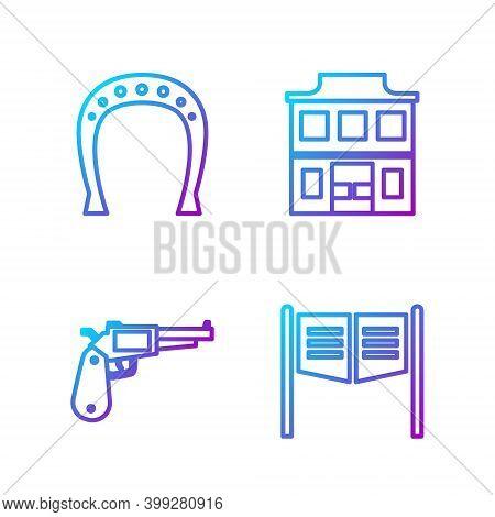 Set Line Saloon Door, Revolver Gun, Horseshoe And Wild West Saloon. Gradient Color Icons. Vector