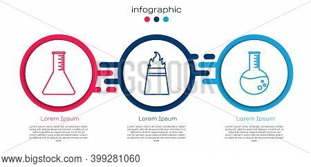 Set Line Oil Petrol Test Tube, Oil Rig With Fire And Oil Petrol Test Tube. Business Infographic Temp