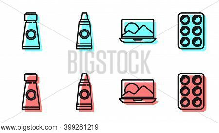 Set Line Laptop, Tube With Paint Palette, Tube With Paint Palette And Watercolor Paints In Box Icon.