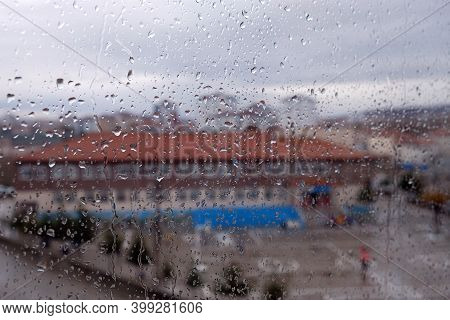 Water Droplets On Glass And View Of The Landscape, Droplets On Close-up Glass,