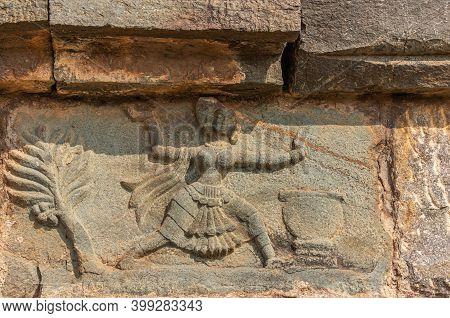 Hampi, Karnataka, India - November 4, 2013: Mural Sculpture On Stone At Royal Enclosure. Closeup Of