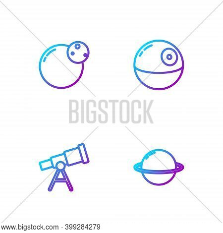Set Line Planet Saturn, Telescope, And Death Star. Gradient Color Icons. Vector