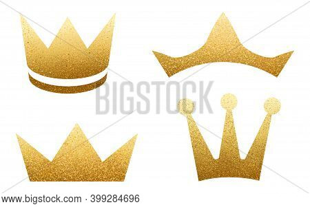 Set Of Golden Crowns With Glitters Isolated On White. Shiny Texture. Glossy Effect. Sparkling Diadem