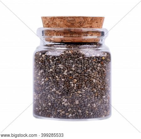 Chia Seeds In Glass Jar, Isolated On White Background. Healthy Superfood. Closeup Macro Of Small Org