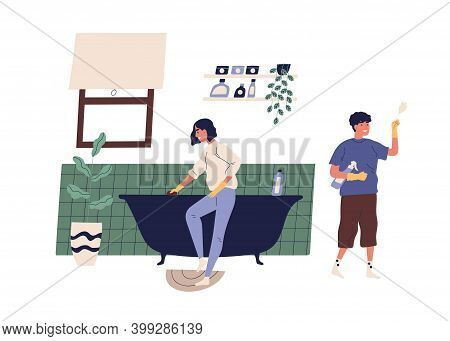 Family Doing Housework Together. Scene Of Daily Routine And Cleanup. Couple Cleaning Bathroom. Flat