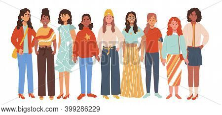 Multiethnic Group Of Woman Isolated On White Background. Multinational Women Standing Together. Vect
