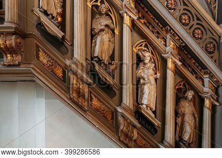 Riga, Latvia - July 2, 2016: Interior Of Riga Dom Dome Cathedral Church. Decorative Elements, Statue