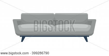 Modern Comfortable Sofa In Classic Style. Stylish Comfy Settee Front Isolated On White Background. C
