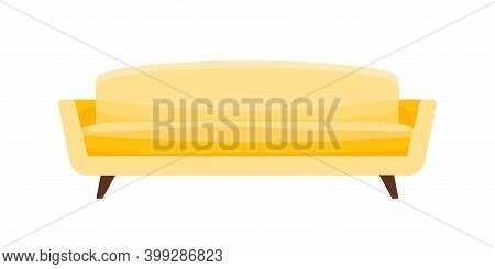 Cozy Yellow Settee In Classic Minimalist Style. Modern Fabric Comfortable Sofa Isolated On White Bac
