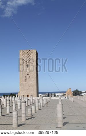 Hassan Tower, The Minaret Of An Incomplete Mosque In Rabat, Morocco. The Tower Was Intended To Be Th