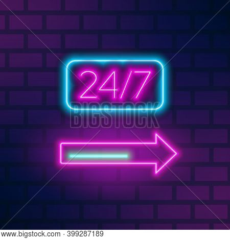 Neon Roadside Signboard With 24 Hours Inscription And Arrow On Brick Wall. Fluorescent Glowing Adver