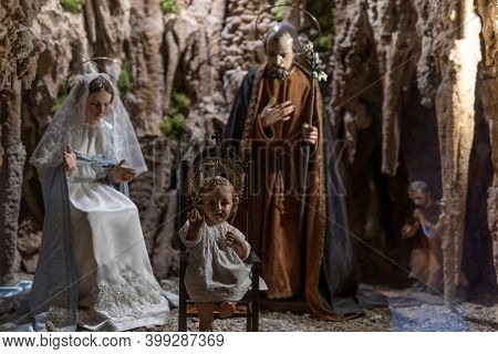 Felanitx, Spain; December 13 2020: Christmas Crib With The Baby Jesus In The Foreground And Mary And