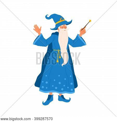 Aged Bearded Mage Conjure With Magic Wand. Portrait Of Old Magician Practicing Wizardry. Cute Wise S