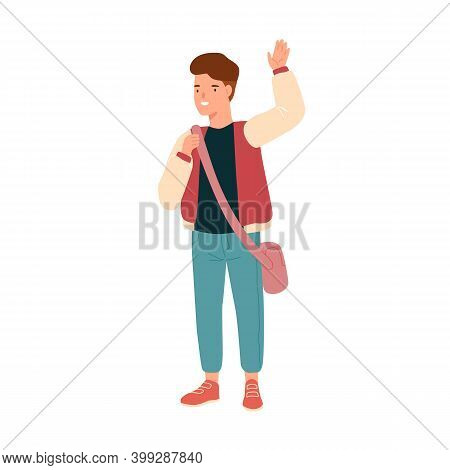 Smiling Teenage Student Waving Hand. Happy Pupil With Schoolbag. Portrait Of Cute Boy Or Schoolchild