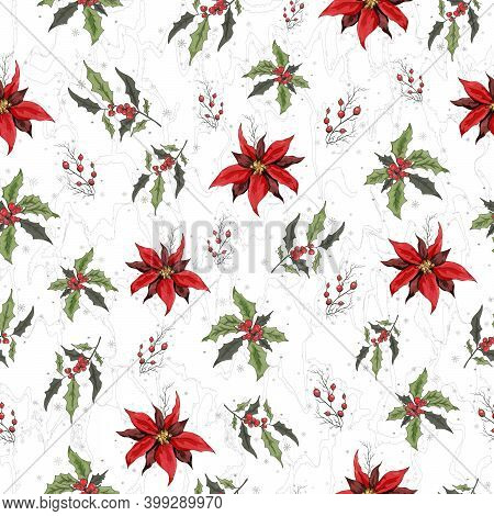 Seamless Vector Pattern With A Pattern Of Holly Branches, Poinsettia. The Hand-drawn Sketch Is Made